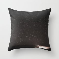 Stars and Space Night Sky - Black and White Galaxy Throw Pillow