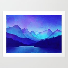 Cerulean Blue Mountains Art Print