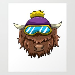 Highland Cow With Ski Glasses Skiing Snowboard Art Print