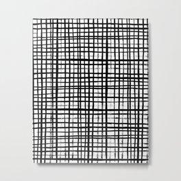 Essie - Grid, Black and White, BW, grid, square, paint, design, art Metal Print