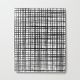 Essie - Grid, Black and White, BW, grid, square, paint, design, art Metal Print