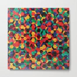 Colorful Half Hexagons Pattern #03 Metal Print