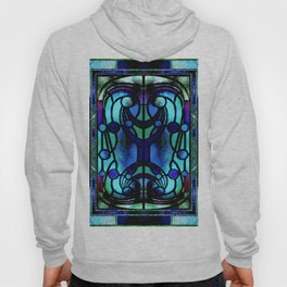 Blue and Aqua Stained Glass Victorian Design Hoody