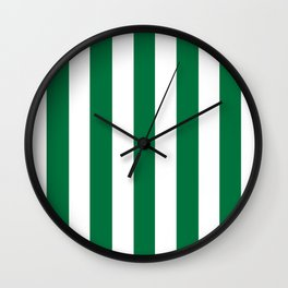 Dartmouth green - solid color - white vertical lines pattern Wall Clock