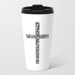 Chrome Crucifix Solid Travel Mug