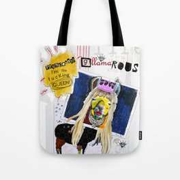 G-LLAMA-ROUS  Princess? I'm the F'ing Queen Llama Collage Tote Bag
