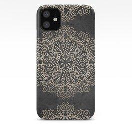 Mandala White Gold on Dark Gray iPhone Case