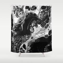 Monochrome Lava Flow Cells Shower Curtain