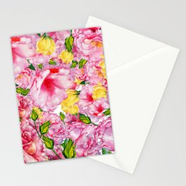 Modern hand painted neon pink yellow watercolor roses floral Stationery Cards