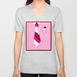 White Collar, Pink Tones Tie (Series: Formal but Not Formal) Unisex V-Neck