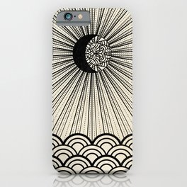 Radiant decorated moon minimal seascape - black lines on neutral iPhone Case