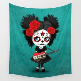 Day of the Dead Girl Playing Syrian Flag Guitar Wall Tapestry