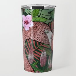 Florencia the Flamingo in her Forest Full of Florals Travel Mug