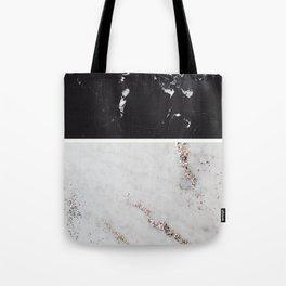 Black Marble & White Glitter Marble #1 #decor #art #society6 Tote Bag