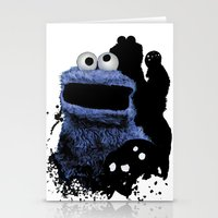 cookie monster Stationery Cards featuring Monster Madness: Cookie Monster by SB Art Productions