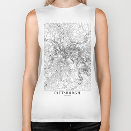 Pittsburgh White Map Biker Tank