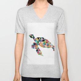Colorful Geometric Turtle Unisex V-Neck