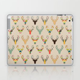 retro deer head on linen Laptop & iPad Skin