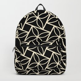STACK attractive black & off-white squares with floral motif Backpack