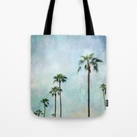 palm trees Tote Bags featuring Palm trees by Sylvia Cook Photography