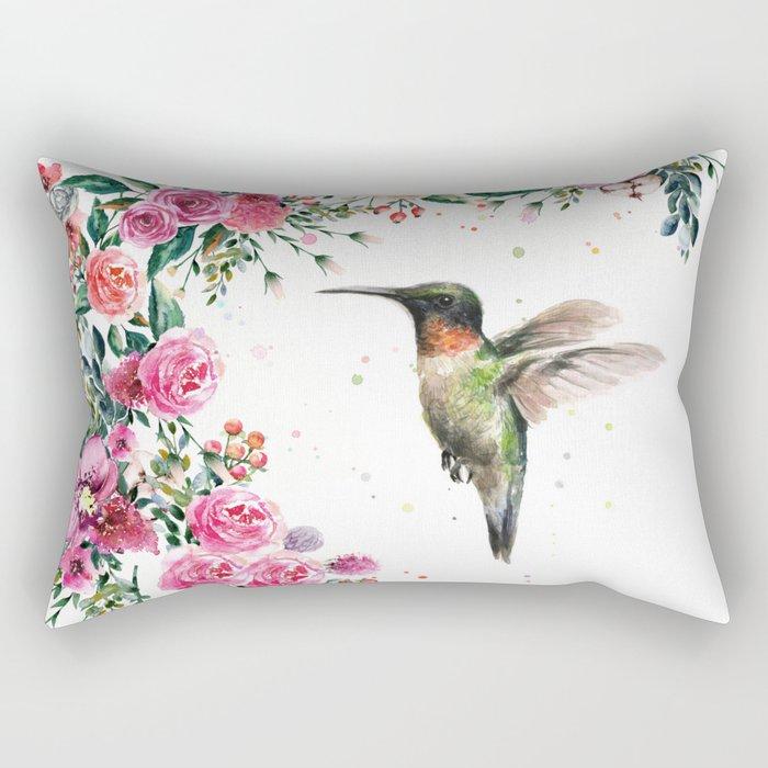 Hummingbird and Flowers Watercolor Animals Rectangular Pillow