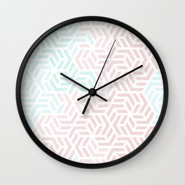 Pastel Deco Hexagon Pattern - Aqua and Pink #pastelvibes #pattern #deco Wall Clock