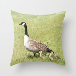 Canada Geese, Mother and Babies Throw Pillow