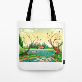 Pond and animals.  Tote Bag