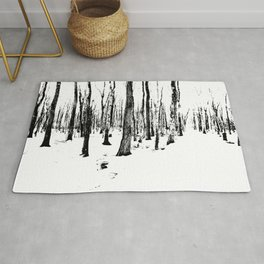 Trees in the Snow (B&W) Rug