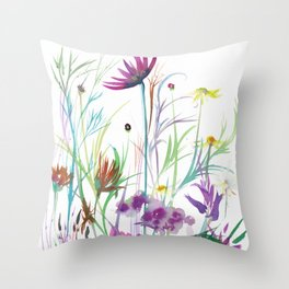 Camomile & Dianthus Throw Pillow