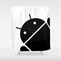 android Shower Curtains featuring Small black Android robot by Antoine Boulanger