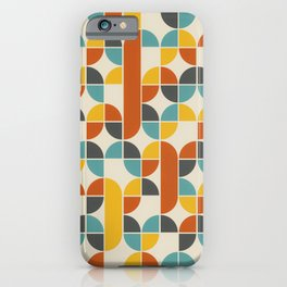 1970s Colors Mid Century Modern Geometric Pattern  iPhone Case