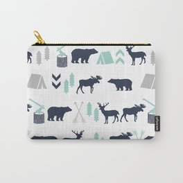 Camper pattern minimal nursery basic grey navy mint white camping cabin chalet decor Carry-All Pouch