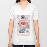 fat V-neck T-shirts featuring FAT by PranitaKocharekar
