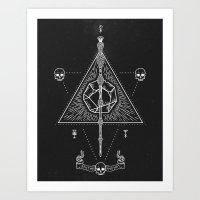 deathly hallows Art Prints featuring Deathly Hallows by Mírë