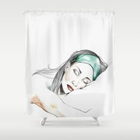 sleeping beauty Shower Curtains featuring Sleeping Beauty by Judit Mallol