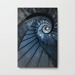 Pretty blue spiral staircase Metal Print