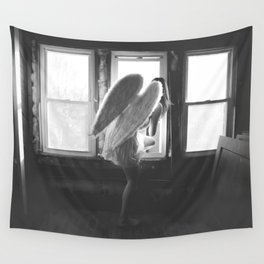 Caught Her Sneaking Out the Bathroom Window female angel black and white photograph - photography - photographs wall decor Wall Tapestry
