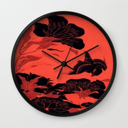 Japanese Flowers Coral Red & Black Wall Clock