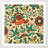tattoos Art Prints featuring Tattoos by Illuminany