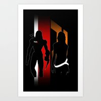 nan lawson Art Prints featuring Commander Shepard and Miranda Lawson by Pixel Design