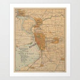 Vintage Map of Buffalo NY (1893) Art Print