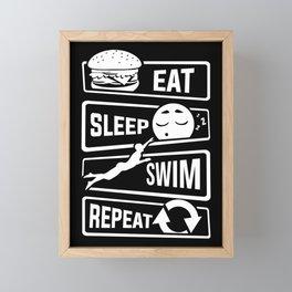 Eat Sleep Swim Repeat - Swimming Water Sports Pool Framed Mini Art Print
