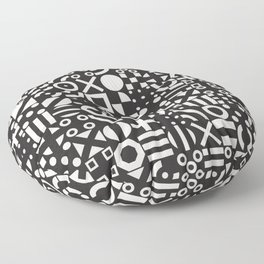 Black and White Irregular Geometric Pattern Print Design Floor Pillow