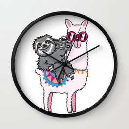 Sloth Music Llama Wall Clock