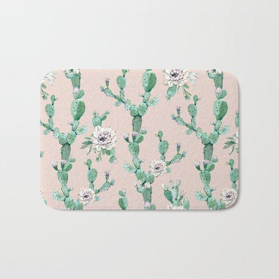 Green Coral Pink Cactus Rose Pattern Bath Mat