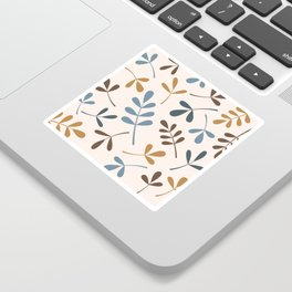 Assorted Leaf Silhouettes Blues Brown Gold Cream Sticker