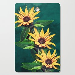 Watercolor sunflowers Cutting Board