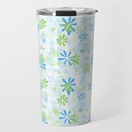 Blue and Green Floral Pattern Travel Mug