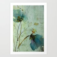 aelwen Art Prints featuring heavenly blue by annemiek groenhout